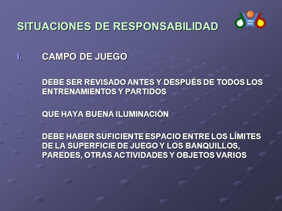 SITUACIONES DE RESPONSABILIDAD I.CAMPO DE JUEGO -DEBE SER REVISADO ANTES Y DESPUÉS DE TODOS LOS ENTRENAMIENTOS Y PARTIDOS -QUE HAYA BUENA ILUMINACIÓN -DEBE HABER SUFICIENTE ESPACIO ENTRE LOS LÍMITES DE LA SUPERFICIE DE JUEGO Y LOS BANQUILLOS, PAREDES, OTRAS ACTIVIDADES Y OBJETOS VARIOS