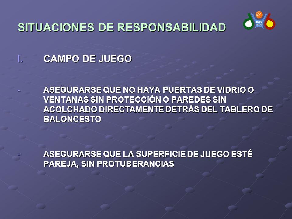 SITUACIONES DE RESPONSABILIDAD I.CAMPO DE JUEGO -ASEGURARSE QUE NO HAYA PUERTAS DE VIDRIO O VENTANAS SIN PROTECCIÓN O PAREDES SIN ACOLCHADO DIRECTAMENTE DETRÁS DEL TABLERO DE BALONCESTO -ASEGURARSE QUE LA SUPERFICIE DE JUEGO ESTÉ PAREJA, SIN PROTUBERANCIAS