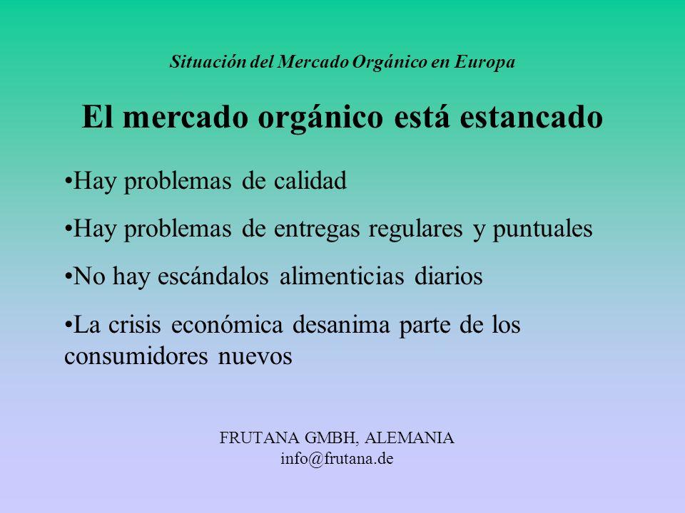 FRUTANA GMBH, ALEMANIA info@frutana.de Situación del Mercado Orgánico en Europa El mercado orgánico está estancado Hay problemas de calidad Hay proble