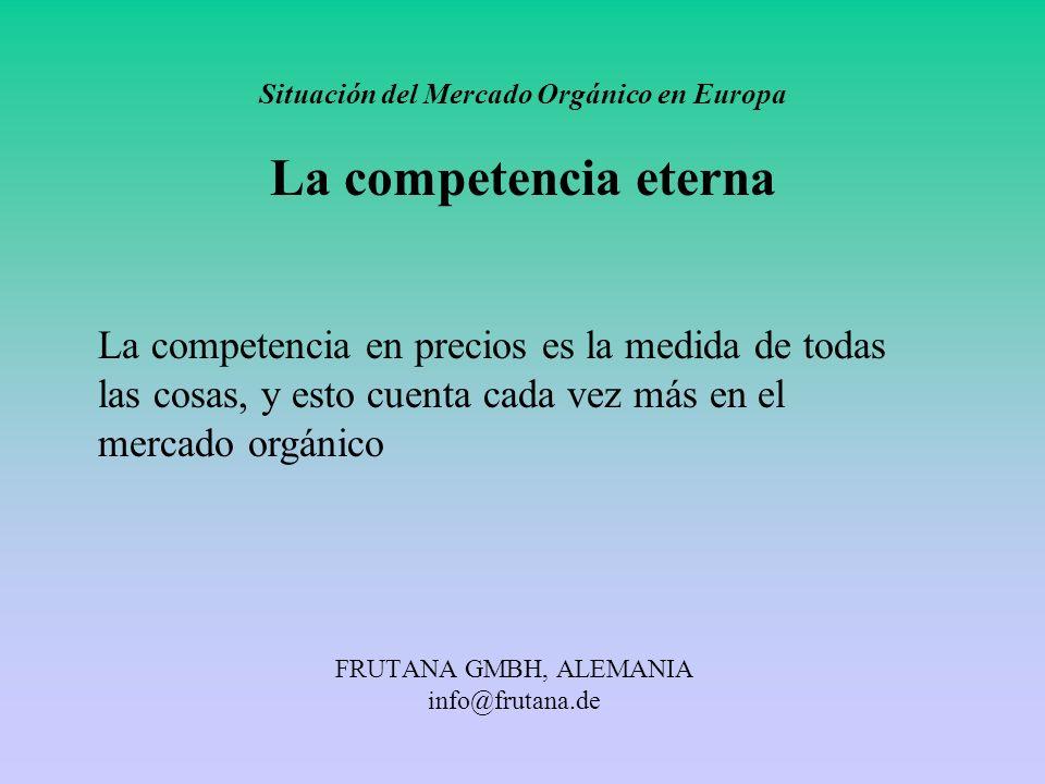 FRUTANA GMBH, ALEMANIA info@frutana.de Situación del Mercado Orgánico en Europa La competencia eterna La competencia en precios es la medida de todas