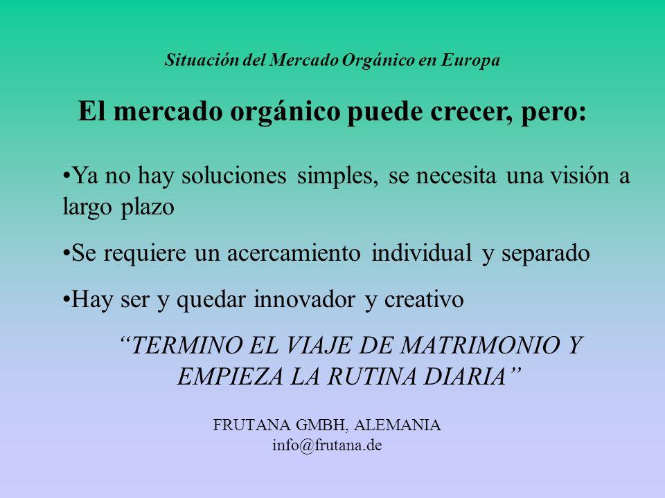 FRUTANA GMBH, ALEMANIA info@frutana.de Situación del Mercado Orgánico en Europa El mercado orgánico puede crecer, pero: Ya no hay soluciones simples,