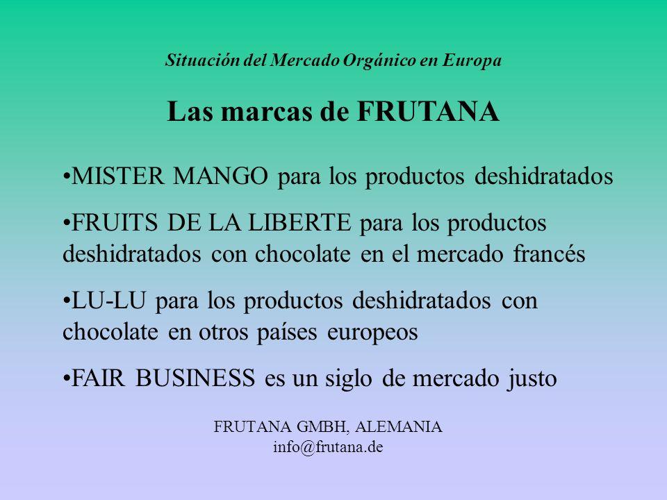 FRUTANA GMBH, ALEMANIA info@frutana.de Situación del Mercado Orgánico en Europa Las marcas de FRUTANA MISTER MANGO para los productos deshidratados FR
