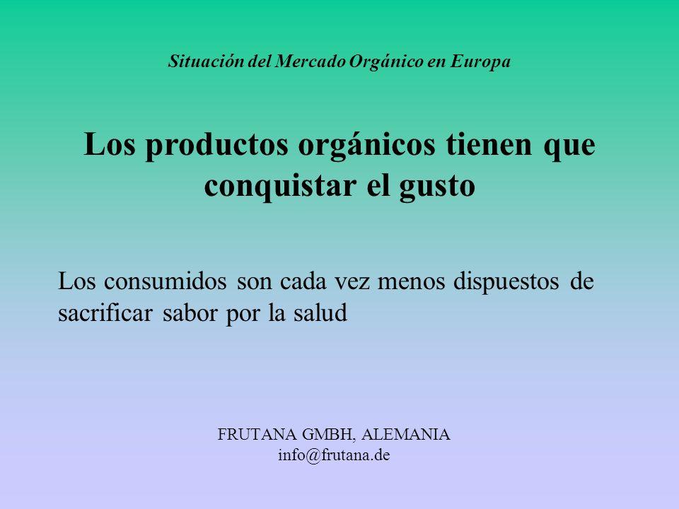 FRUTANA GMBH, ALEMANIA info@frutana.de Situación del Mercado Orgánico en Europa Los productos orgánicos tienen que conquistar el gusto Los consumidos