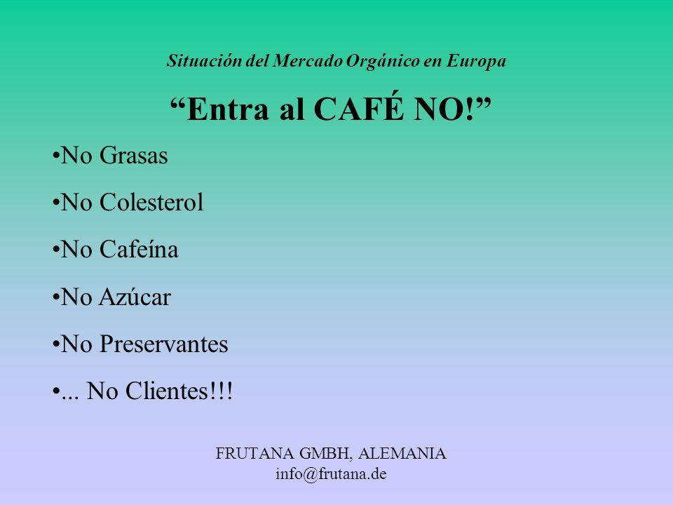 FRUTANA GMBH, ALEMANIA info@frutana.de Situación del Mercado Orgánico en Europa Entra al CAFÉ NO! No Grasas No Colesterol No Cafeína No Azúcar No Pres