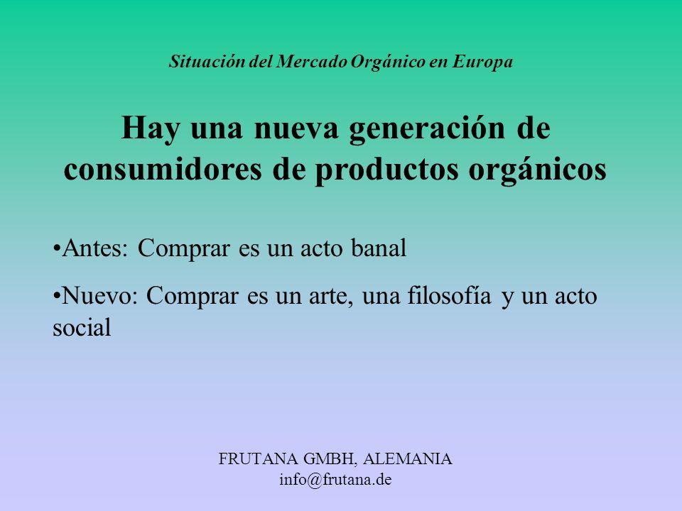 FRUTANA GMBH, ALEMANIA info@frutana.de Situación del Mercado Orgánico en Europa Hay una nueva generación de consumidores de productos orgánicos Antes: