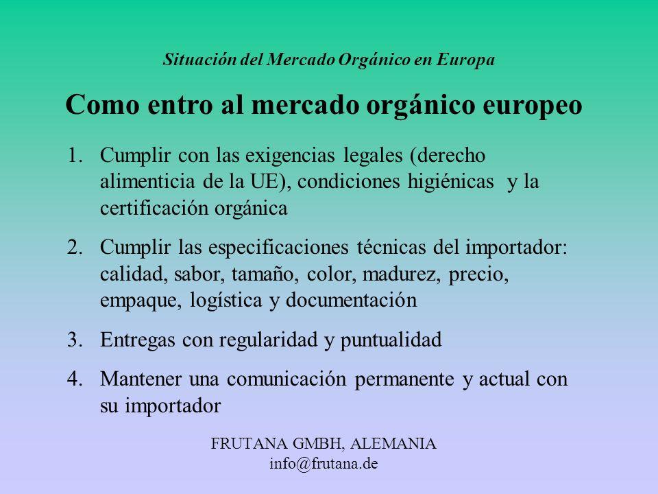FRUTANA GMBH, ALEMANIA info@frutana.de Situación del Mercado Orgánico en Europa Como entro al mercado orgánico europeo 1.Cumplir con las exigencias le