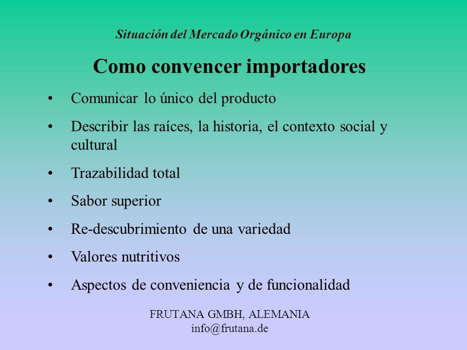 FRUTANA GMBH, ALEMANIA info@frutana.de Situación del Mercado Orgánico en Europa Como convencer importadores Comunicar lo único del producto Describir
