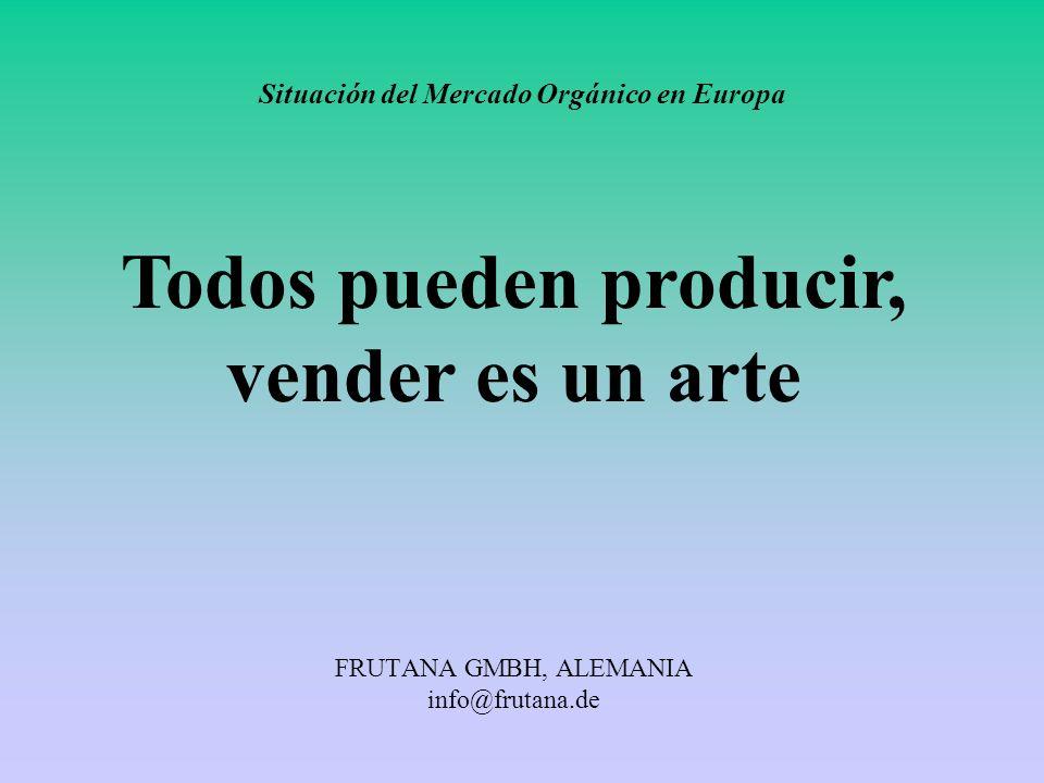 FRUTANA GMBH, ALEMANIA info@frutana.de Situación del Mercado Orgánico en Europa Todos pueden producir, vender es un arte