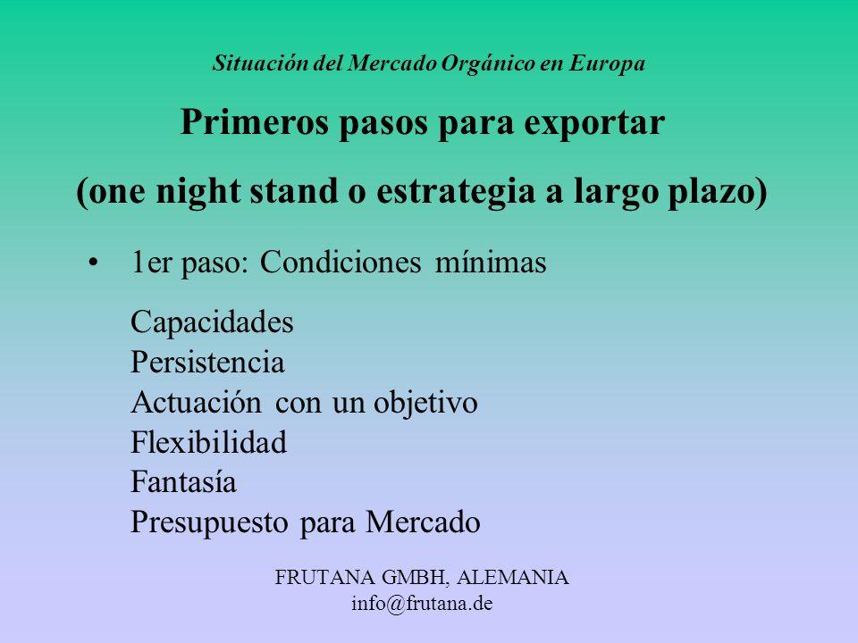 FRUTANA GMBH, ALEMANIA info@frutana.de Situación del Mercado Orgánico en Europa Primeros pasos para exportar (one night stand o estrategia a largo pla