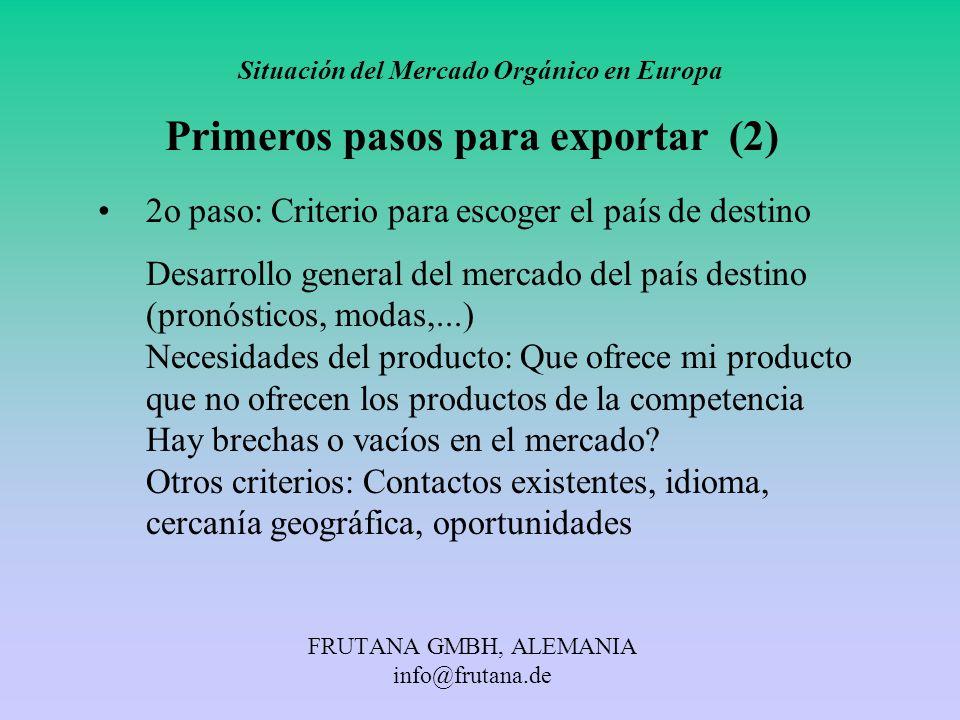 FRUTANA GMBH, ALEMANIA info@frutana.de Situación del Mercado Orgánico en Europa Primeros pasos para exportar (2) 2o paso: Criterio para escoger el paí