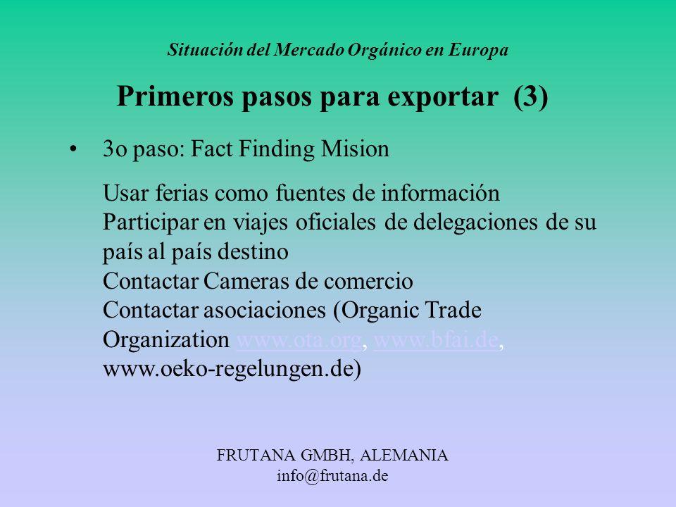 FRUTANA GMBH, ALEMANIA info@frutana.de Situación del Mercado Orgánico en Europa Primeros pasos para exportar (3) 3o paso: Fact Finding Mision Usar fer