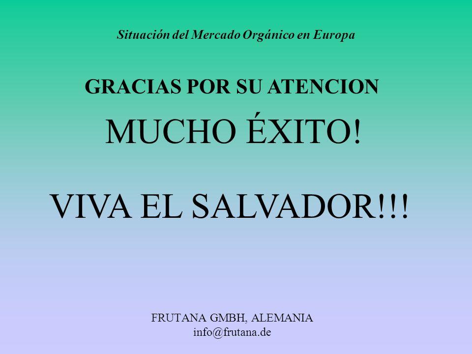 FRUTANA GMBH, ALEMANIA info@frutana.de Situación del Mercado Orgánico en Europa GRACIAS POR SU ATENCION MUCHO ÉXITO! VIVA EL SALVADOR!!!