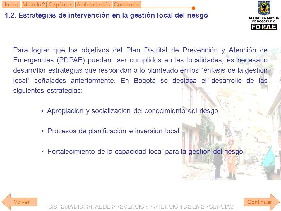 1.2. Estrategias de intervención en la gestión local del riesgo Continuar ContenidoInicioAmbientaciónMódulo 2Capítulos Para lograr que los objetivos d