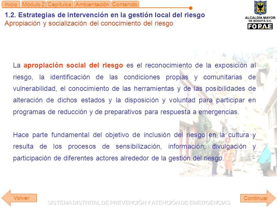 1.2. Estrategias de intervención en la gestión local del riesgo Apropiación y socialización del conocimiento del riesgo Continuar ContenidoInicioAmbie