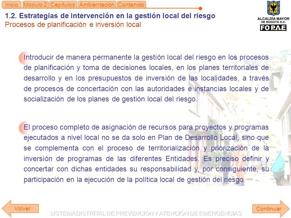 1.2. Estrategias de intervención en la gestión local del riesgo Procesos de planificación e inversión local Continuar ContenidoInicioAmbientaciónMódul