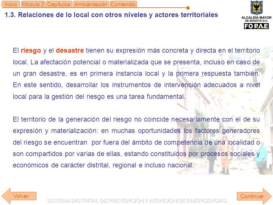 1.3. Relaciones de lo local con otros niveles y actores territoriales Continuar ContenidoInicioAmbientaciónMódulo 2Capítulos El riesgo y el desastre t