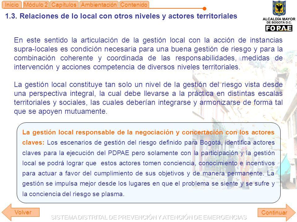 1.3. Relaciones de lo local con otros niveles y actores territoriales Continuar ContenidoInicioAmbientaciónMódulo 2Capítulos En este sentido la articu