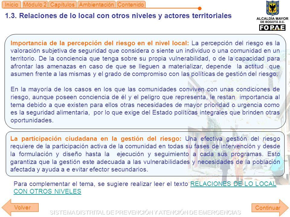 1.3. Relaciones de lo local con otros niveles y actores territoriales Continuar ContenidoInicioAmbientaciónMódulo 2Capítulos Importancia de la percepc