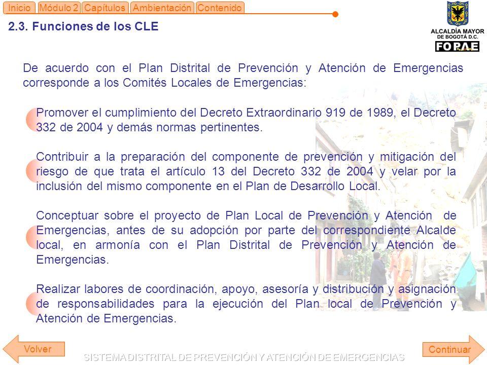 2.3. Funciones de los CLE Continuar ContenidoInicioMódulo 2CapítulosAmbientación Promover el cumplimiento del Decreto Extraordinario 919 de 1989, el D