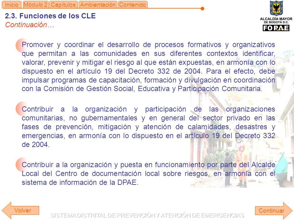 2.3. Funciones de los CLE Continuación… Continuar ContenidoInicioMódulo 2CapítulosAmbientación Promover y coordinar el desarrollo de procesos formativ