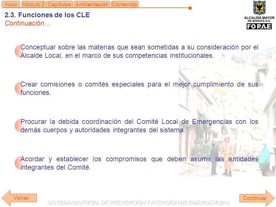 2.3. Funciones de los CLE Continuación… Continuar ContenidoInicioMódulo 2CapítulosAmbientación Conceptuar sobre las materias que sean sometidas a su c