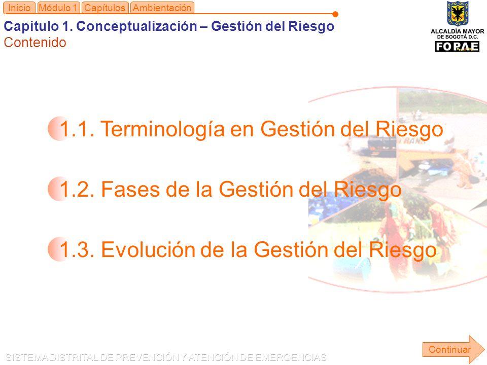 1.1.Terminología en Gestión del Riesgo 1.2. Fases de la Gestión del Riesgo 1.3.