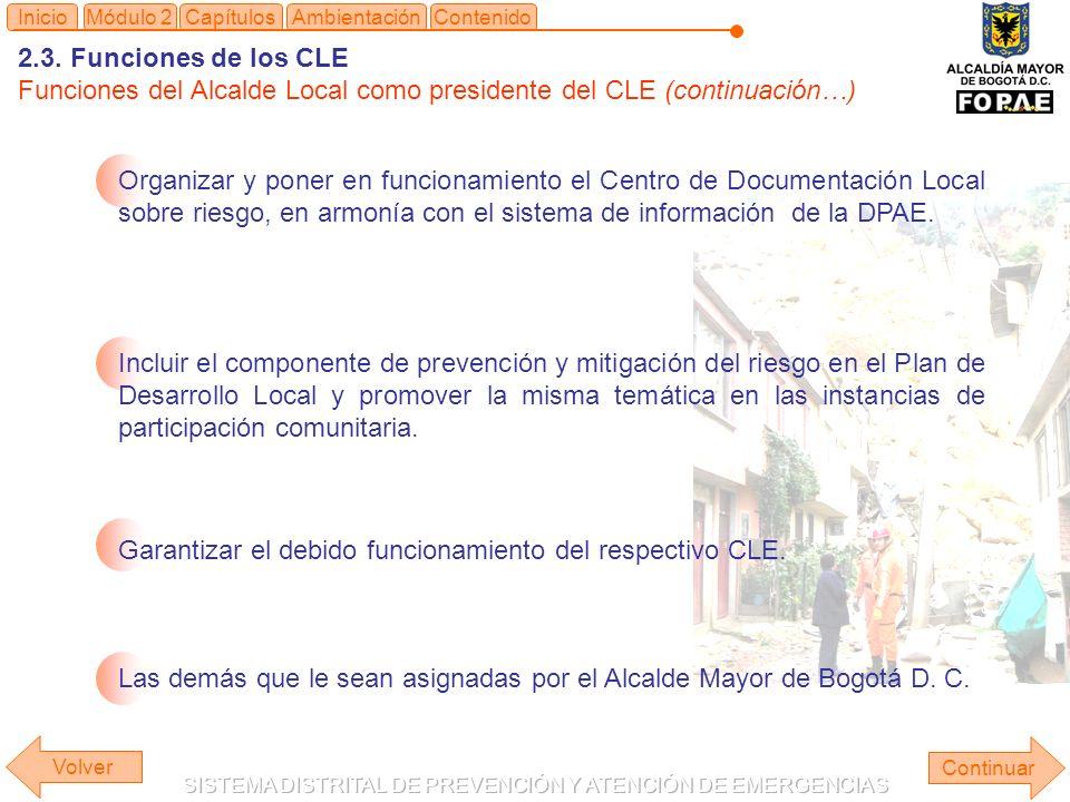 ContenidoInicioMódulo 2CapítulosAmbientación Organizar y poner en funcionamiento el Centro de Documentación Local sobre riesgo, en armonía con el sistema de información de la DPAE.