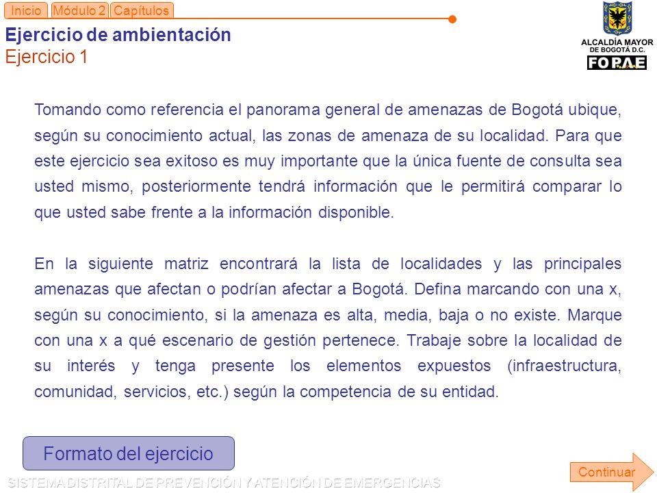 Tomando como referencia el panorama general de amenazas de Bogotá ubique, según su conocimiento actual, las zonas de amenaza de su localidad.