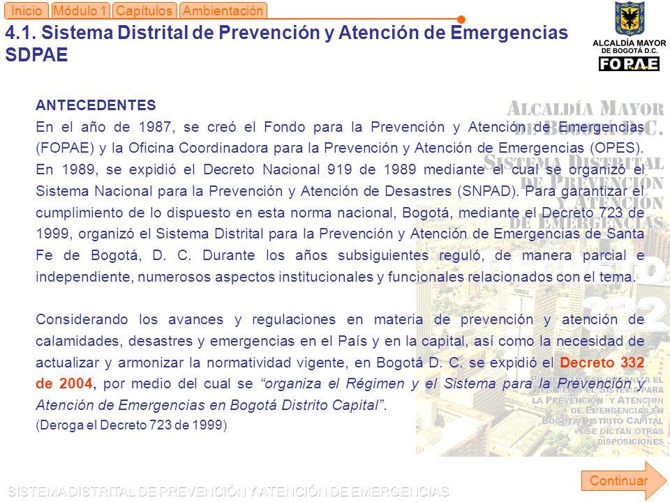 4.1. Sistema Distrital de Prevención y Atención de Emergencias SDPAE Módulo 1Capítulos Continuar Inicio ANTECEDENTES En el año de 1987, se creó el Fon