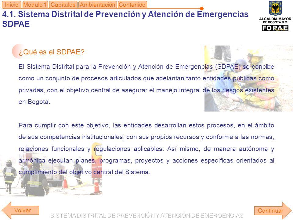 4.1. Sistema Distrital de Prevención y Atención de Emergencias SDPAE Módulo 1Capítulos Continuar Inicio ¿Qué es el SDPAE? El Sistema Distrital para la