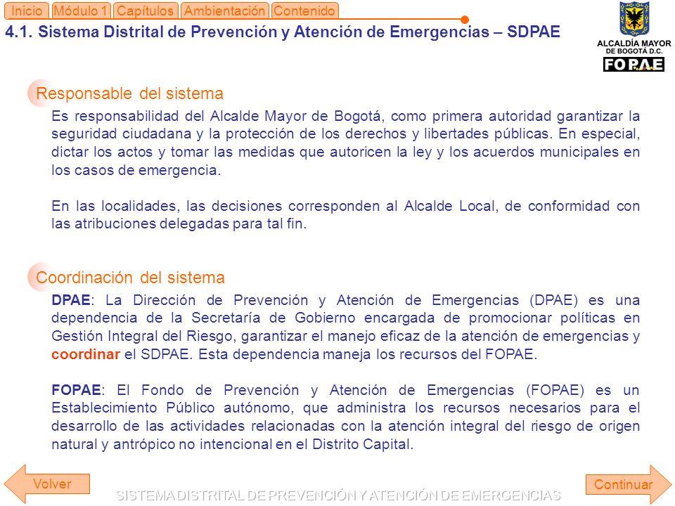4.1. Sistema Distrital de Prevención y Atención de Emergencias – SDPAE Módulo 1Capítulos Continuar InicioAmbientaciónContenido Volver Responsable del