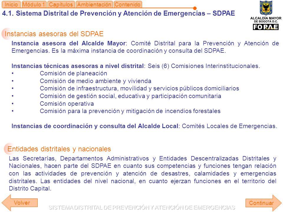 4.1. Sistema Distrital de Prevención y Atención de Emergencias – SDPAE Módulo 1Capítulos Continuar InicioAmbientaciónContenido Volver Instancias aseso