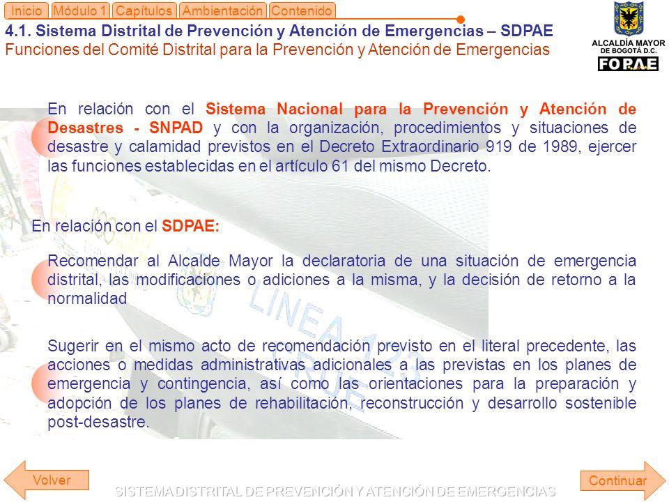4.1. Sistema Distrital de Prevención y Atención de Emergencias – SDPAE Funciones del Comité Distrital para la Prevención y Atención de Emergencias Mód