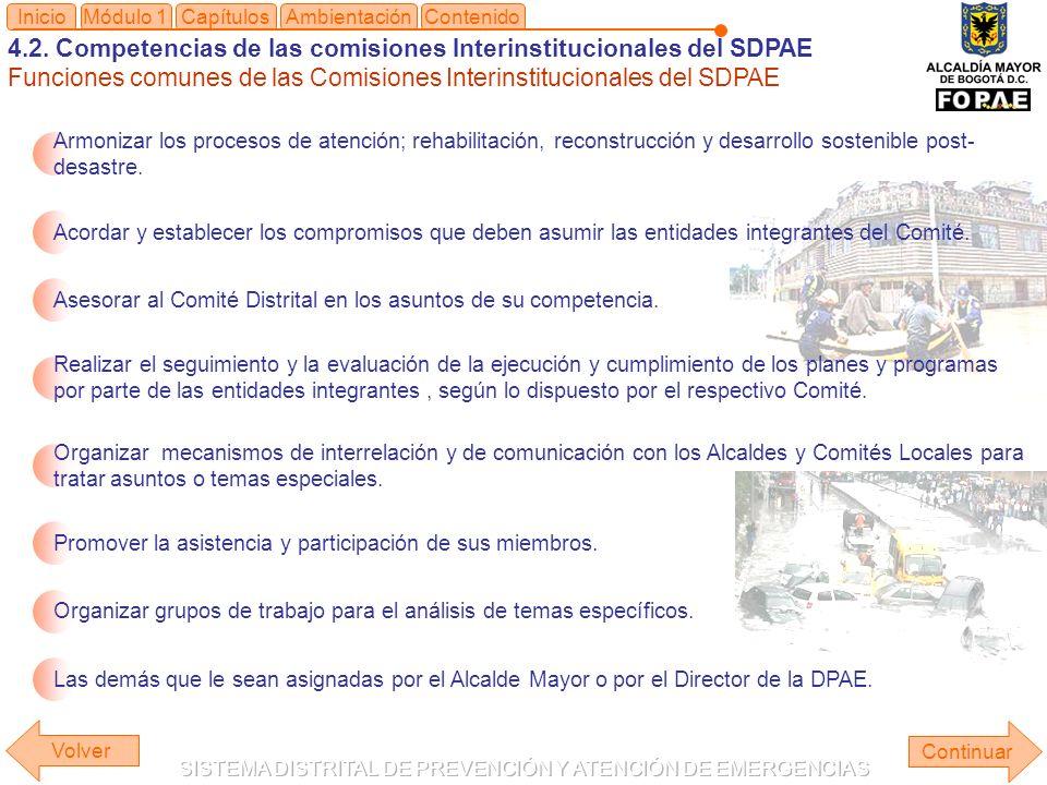 4.2. Competencias de las comisiones Interinstitucionales del SDPAE Funciones comunes de las Comisiones Interinstitucionales del SDPAE Módulo 1Capítulo