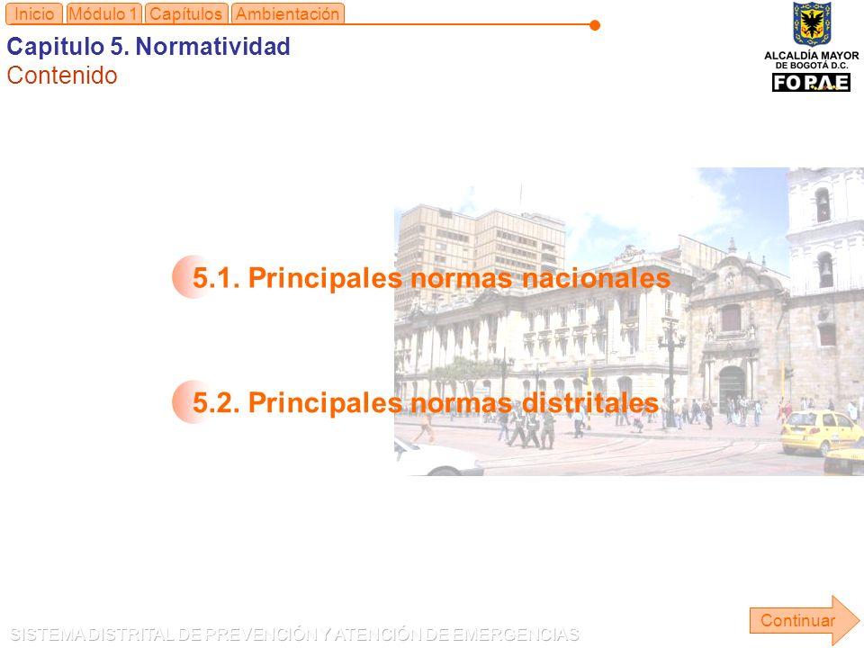 Módulo 1Capítulos Continuar Inicio 5.1.Principales normas nacionales5.2.
