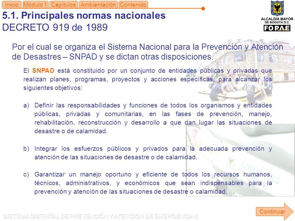 5.1. Principales normas nacionales DECRETO 919 de 1989 Módulo 1Capítulos Continuar Inicio Por el cual se organiza el Sistema Nacional para la Prevenci