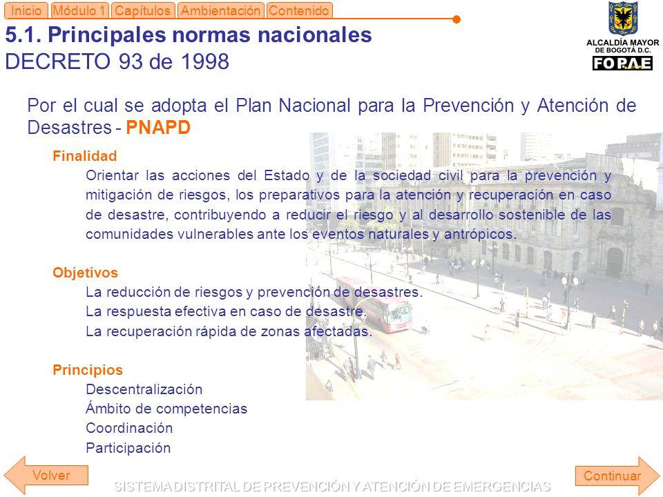 5.1. Principales normas nacionales DECRETO 93 de 1998 Módulo 1Capítulos Continuar Inicio Por el cual se adopta el Plan Nacional para la Prevención y A