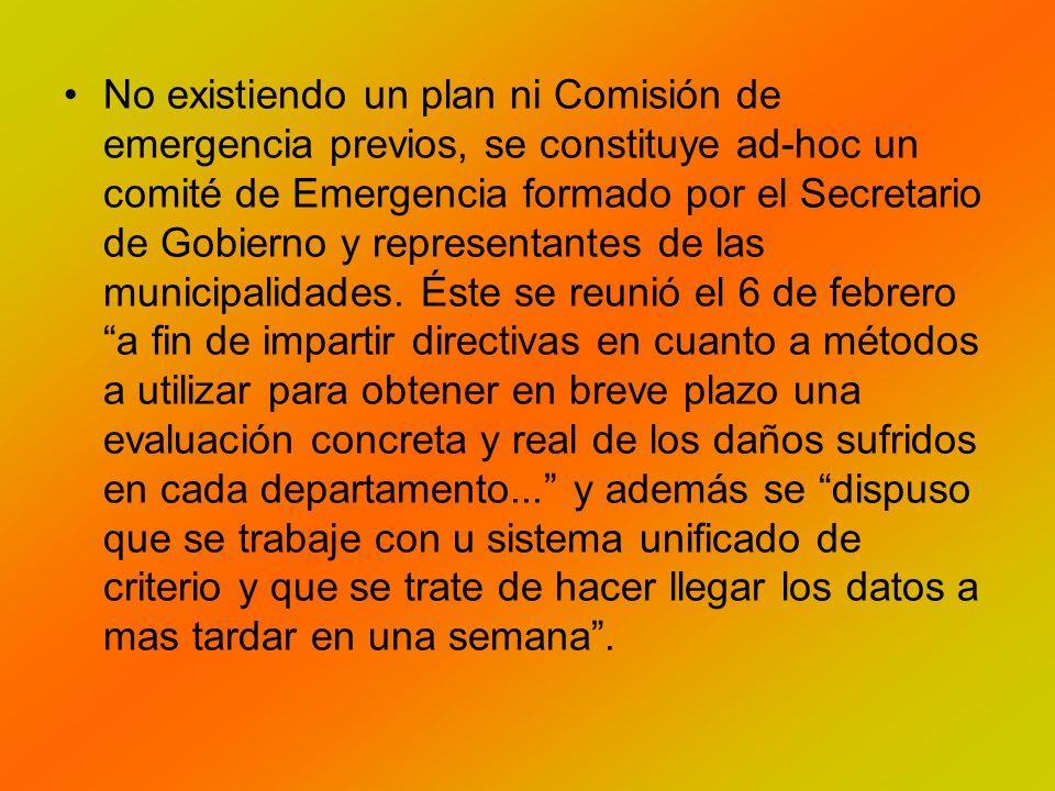 No existiendo un plan ni Comisión de emergencia previos, se constituye ad-hoc un comité de Emergencia formado por el Secretario de Gobierno y representantes de las municipalidades.