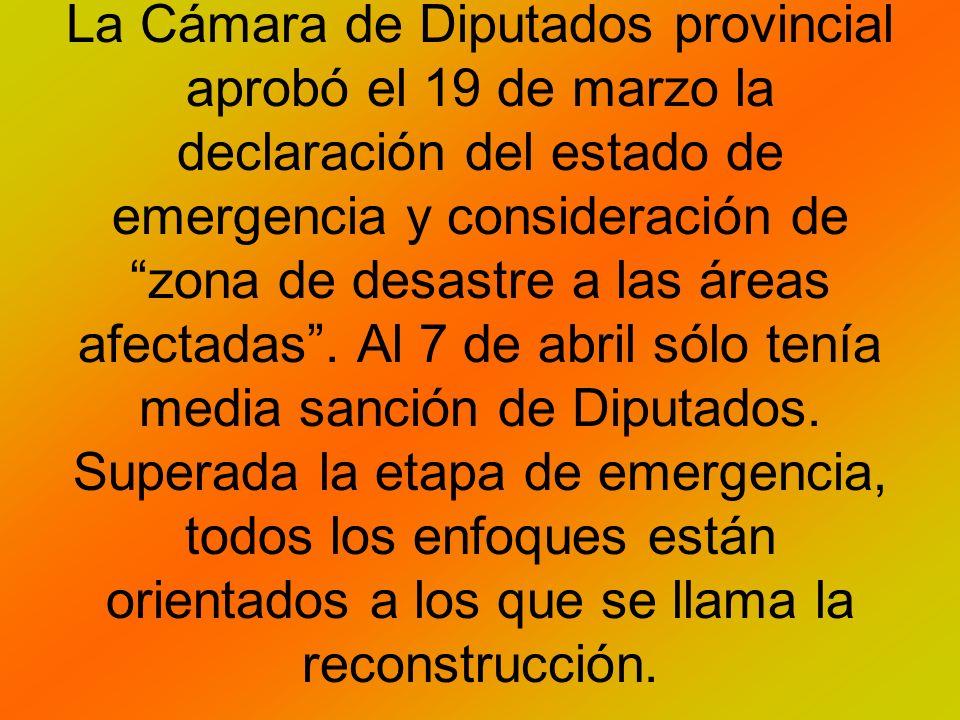 La Cámara de Diputados provincial aprobó el 19 de marzo la declaración del estado de emergencia y consideración de zona de desastre a las áreas afectadas.
