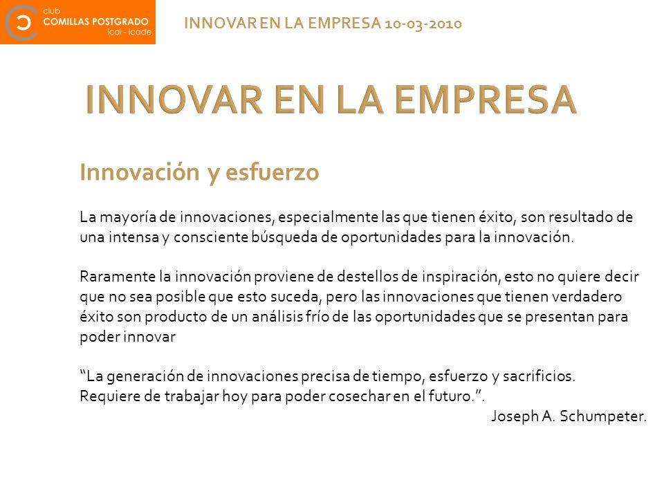 INNOVAR EN LA EMPRESA INNOVAR EN LA EMPRESA 10-03-2010 Innovación y esfuerzo La mayoría de innovaciones, especialmente las que tienen éxito, son resul