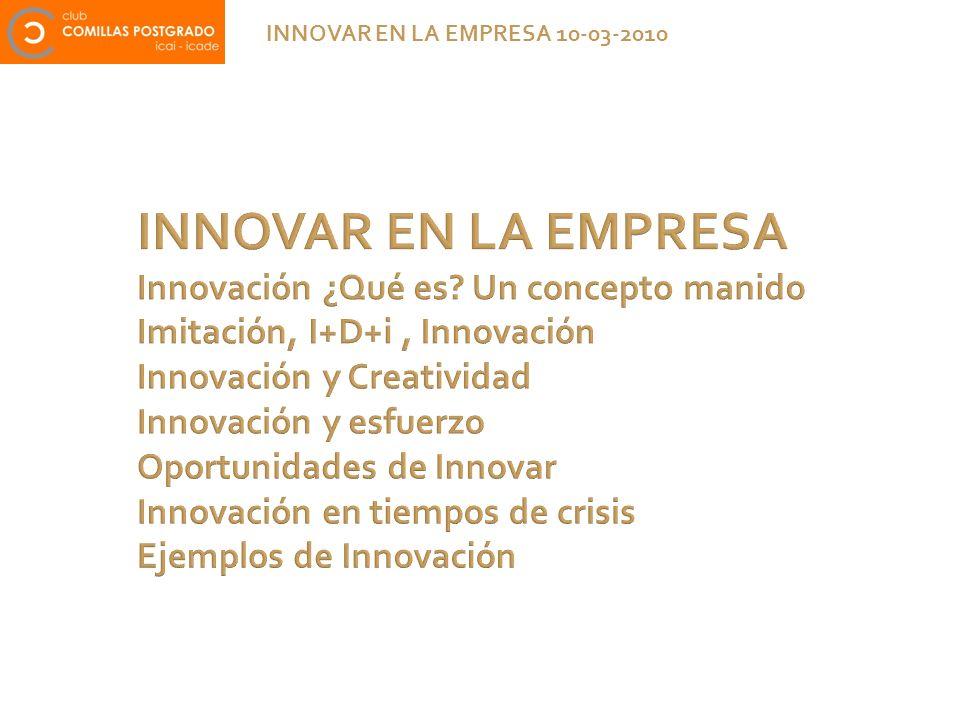 INNOVAR EN LA EMPRESA Innovación ¿Qué es? Un concepto manido Imitación, I+D+i, Innovación Innovación y Creatividad Innovación y esfuerzo Oportunidades