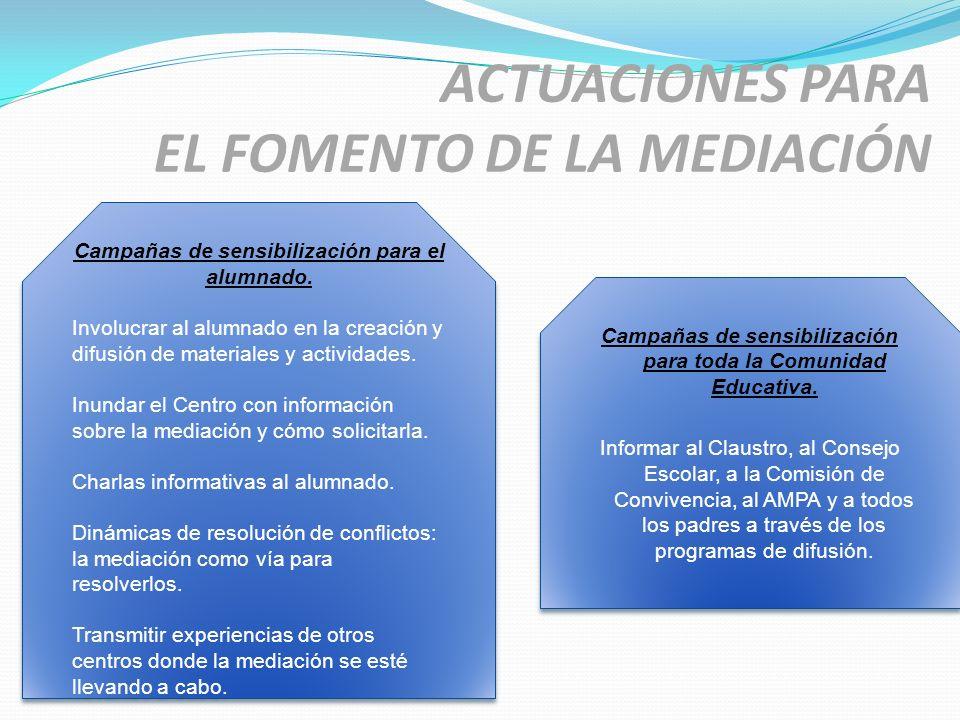 ACTUACIONES PARA EL FOMENTO DE LA MEDIACIÓN Campañas de sensibilización para el alumnado. Involucrar al alumnado en la creación y difusión de material