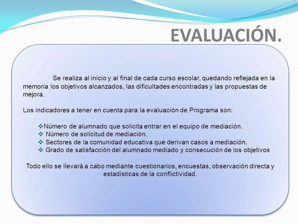 EVALUACIÓN. Se realiza al inicio y al final de cada curso escolar, quedando reflejada en la memoria los objetivos alcanzados, las dificultades encontr