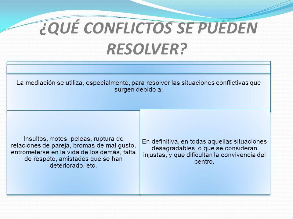 ¿QUÉ CONFLICTOS SE PUEDEN RESOLVER? La mediación se utiliza, especialmente, para resolver las situaciones conflictivas que surgen debido a: Insultos,