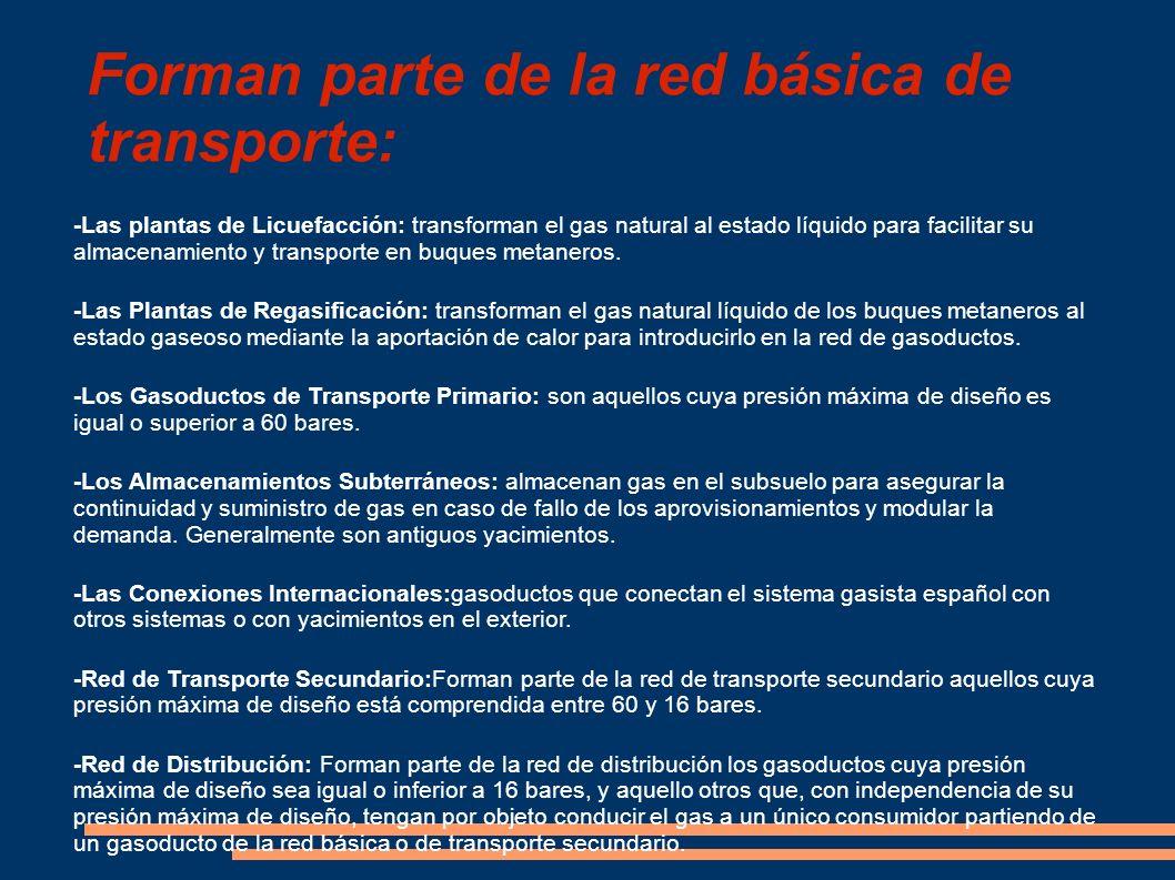 Forman parte de la red básica de transporte: -Las plantas de Licuefacción: transforman el gas natural al estado líquido para facilitar su almacenamien