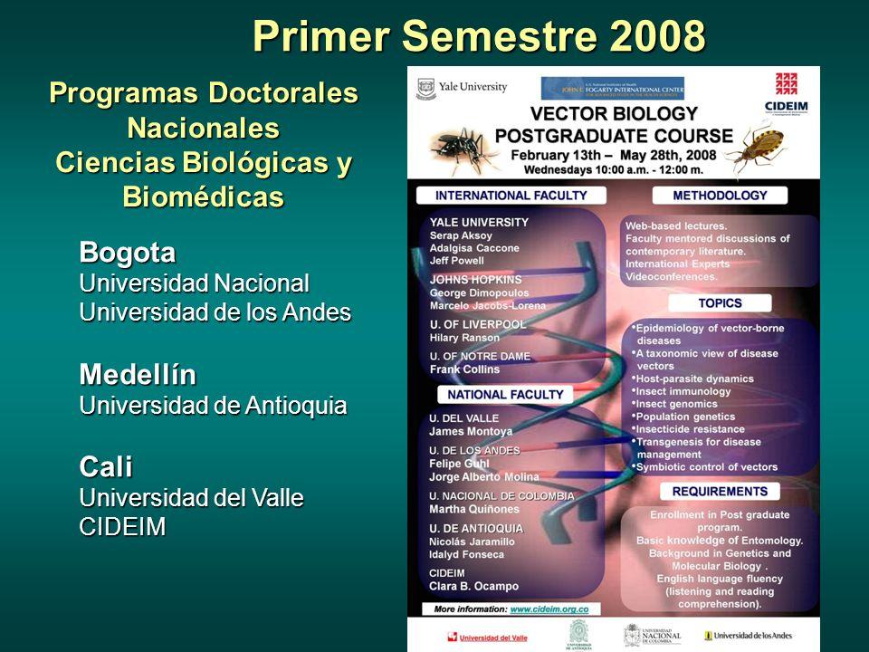 Primer Semestre 2008 Programas Doctorales Nacionales Ciencias Biológicas y Biomédicas Bogota Universidad Nacional Universidad de los Andes Medellín Universidad de Antioquia Cali Universidad del Valle CIDEIM