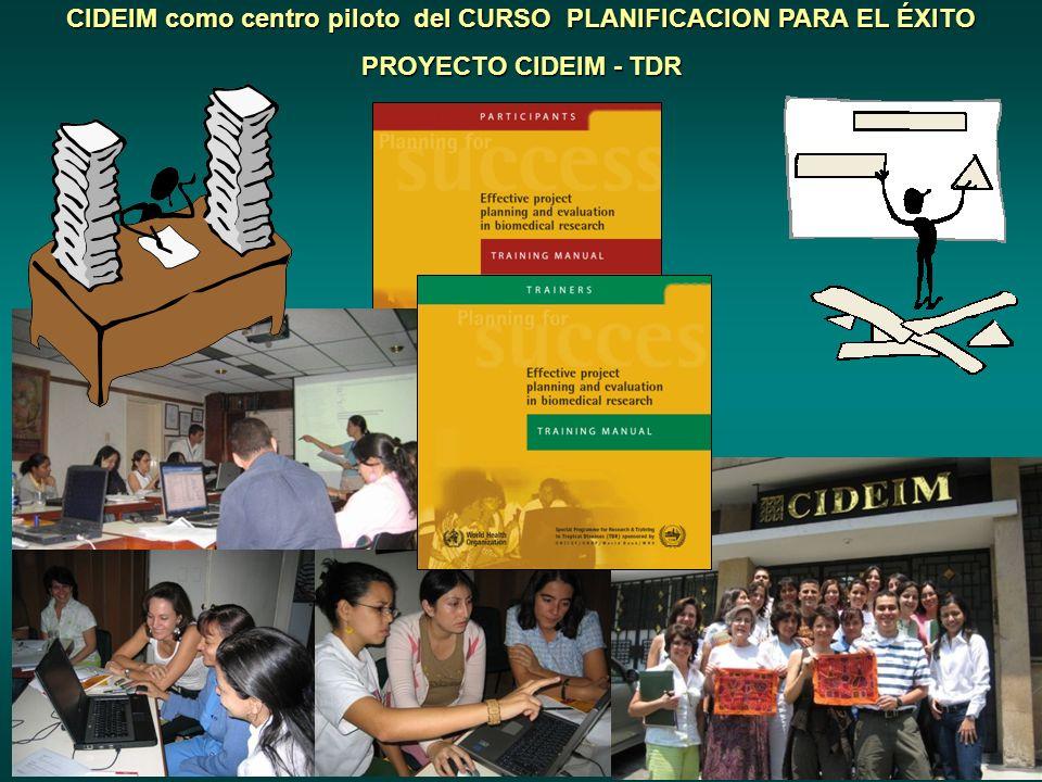 CIDEIM como centro piloto del CURSO PLANIFICACION PARA EL ÉXITO PROYECTO CIDEIM - TDR