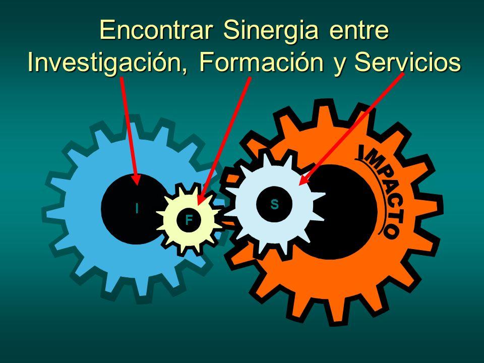 Encontrar Sinergia entre Investigación, Formación y Servicios I F S