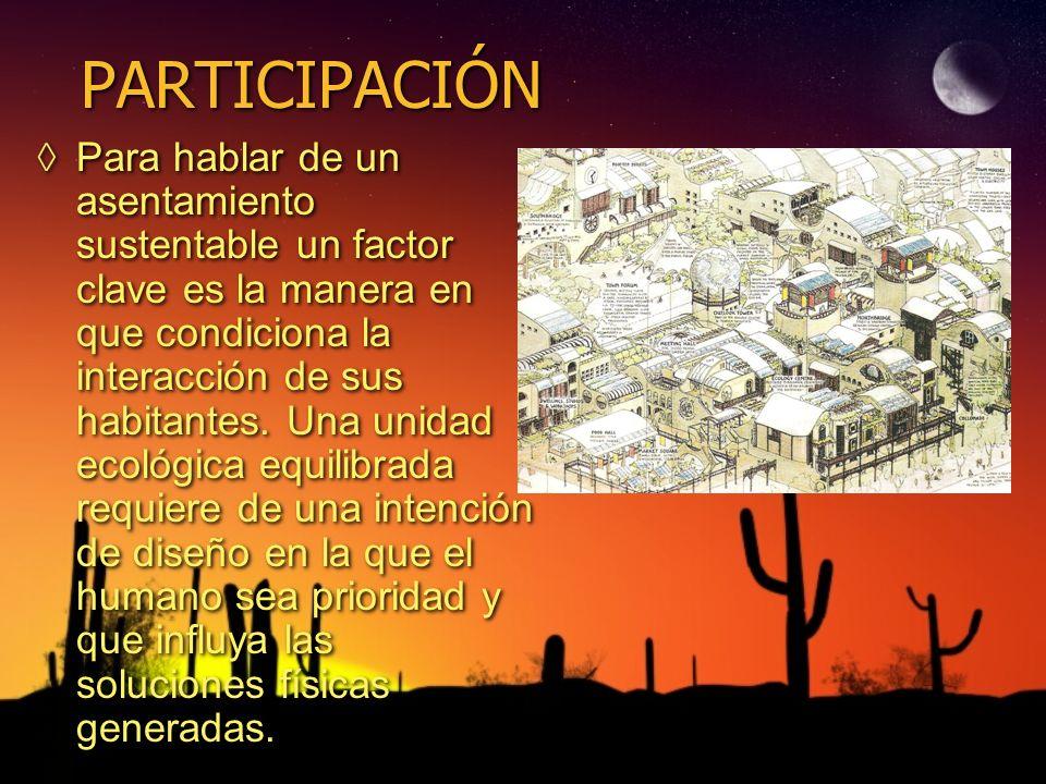 PARTICIPACIÓN Para hablar de un asentamiento sustentable un factor clave es la manera en que condiciona la interacción de sus habitantes. Una unidad e