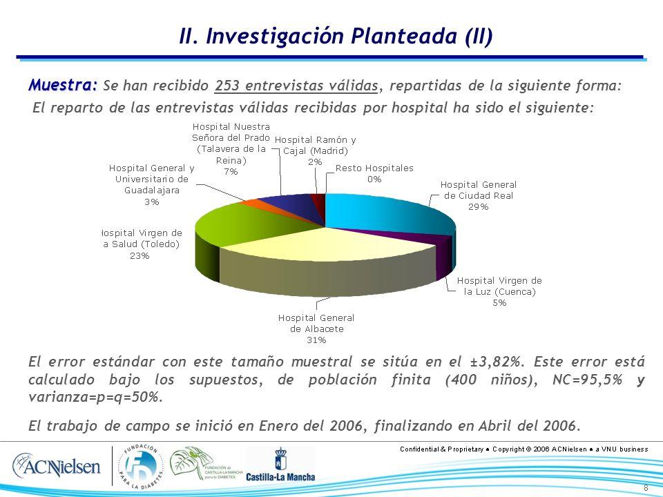 8 II. Investigación Planteada (II) Muestra: Muestra: Se han recibido 253 entrevistas válidas, repartidas de la siguiente forma: El reparto de las entr
